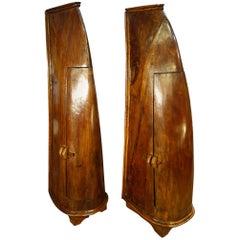 Antique Italian Handcrafted Primitive 19th Century Teak Canoe Cabinet Pair