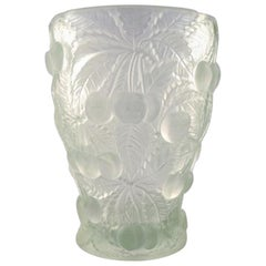 Lalique Style Art Glass Vase in Clear Glass with Cherries in Relief, 1950s