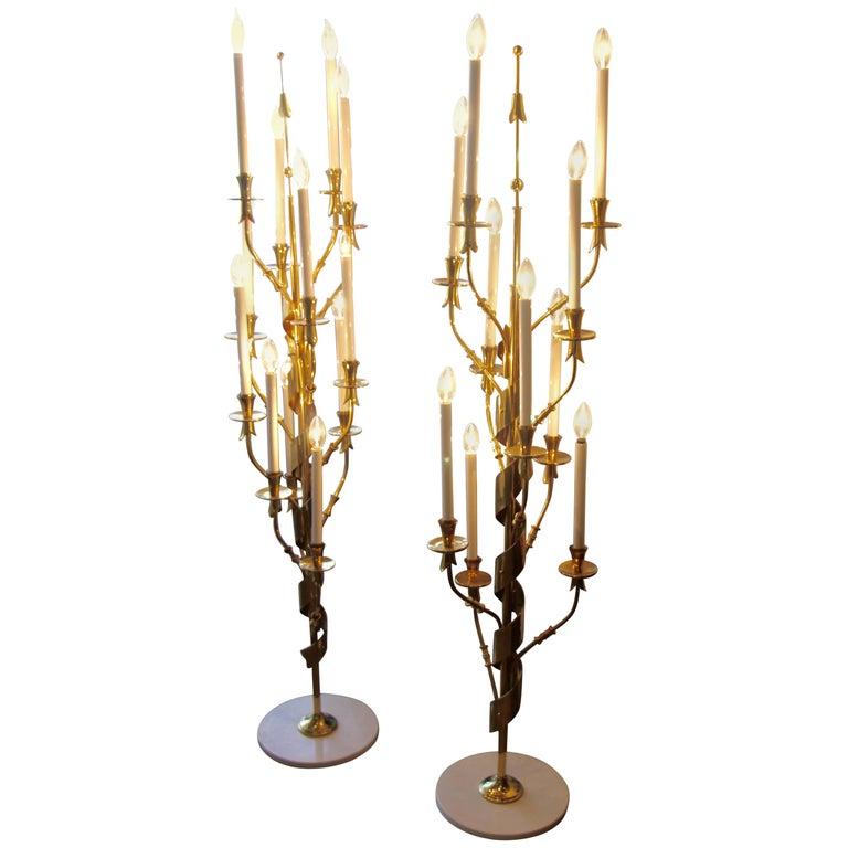Stilnovo Brass Candelabra Floor Lamps with Marble Bases For Sale