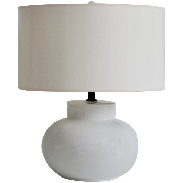 Mid-Century Blanc de Chine Ceramic Gourd Form Table Lamp