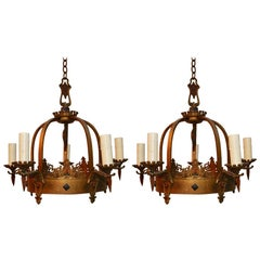 Pair of 1920s  Brass Chandeliers