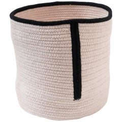 Natural Woven Wool Basket in Black White, Custom Made in the USA, Line Design