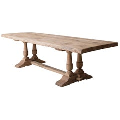 19th Century French Large Bleached Oak Provençal Style Trestle Table