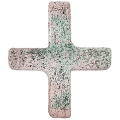Wall Cross, Textured Ceramic, Handmade in Belgium, 1970s