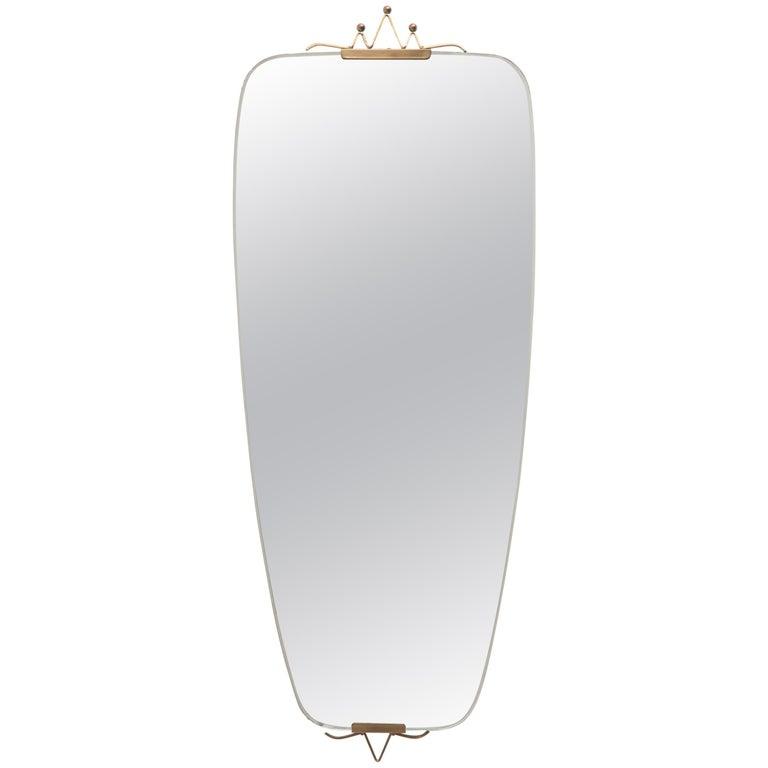 Mid-Century Modern Oval Ellipse Brass Wall Mirror, 1950s 1