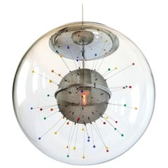 Colorful Pendant Sputnik in a Glass Shade by Fabbian, Italy