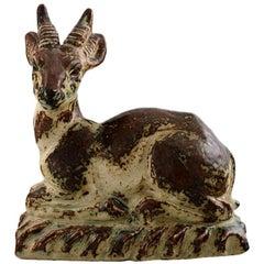 Rare Knud Kyhn for Royal Copenhagen Stoneware Figure No. 20864, Roebuck on Base