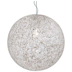 Vistosi Rina Pendant Light in White and Murrina by Barbara Maggiolo