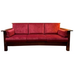 Mission Style AJ's Furniture Red Fabric Upholstered Oak McCoy Sofa