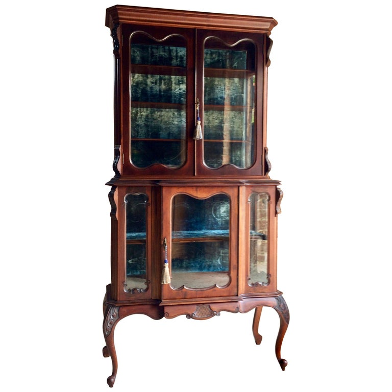 Stunning Antique Display Cabinet Vitrine Mahogany Victorian, 19th Century - 19th Century Antique Two-Door French Display Cabinet Or Vitrine By