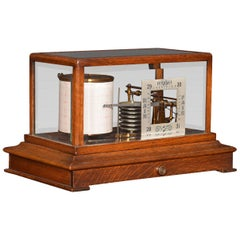 Oak Cased Barograph and Barometer