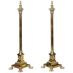 Exhibition Quality Pair of Brass Standard Lamp