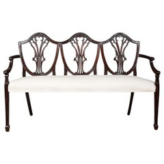Hepplewhite Style Mahogany Shield Back Settee