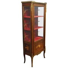 French Inlaid Marquetry Rosewood Display Cabinet