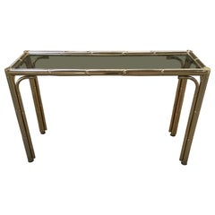 Italian Faux Bamboo Console Brass Finished with Smoked Glass Top from 1970s