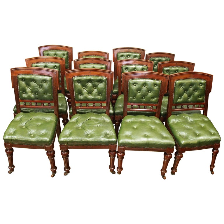 Set Of 12 Mahogany And Green Leather Dining Chairs For