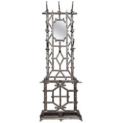 Late Victorian Faux Bamboo Cast Iron Hall Stand
