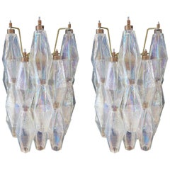 Pair of Vintage Murano Italian Poliedri Iridescent Glass Wall Sconces