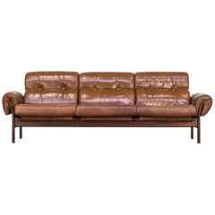 1970s Arne Norell Cognac Leather and Rosewood Framed Beautiful Rare Sofa