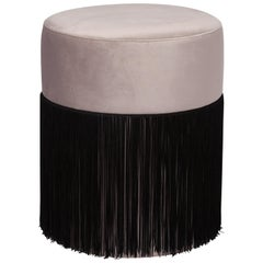 Pouf Pill Warm Grey in Velvet Upholstery with Fringes