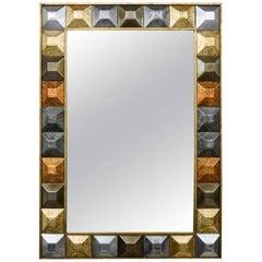 "Mirror ""Diamond Tips"", Gilt Patina"