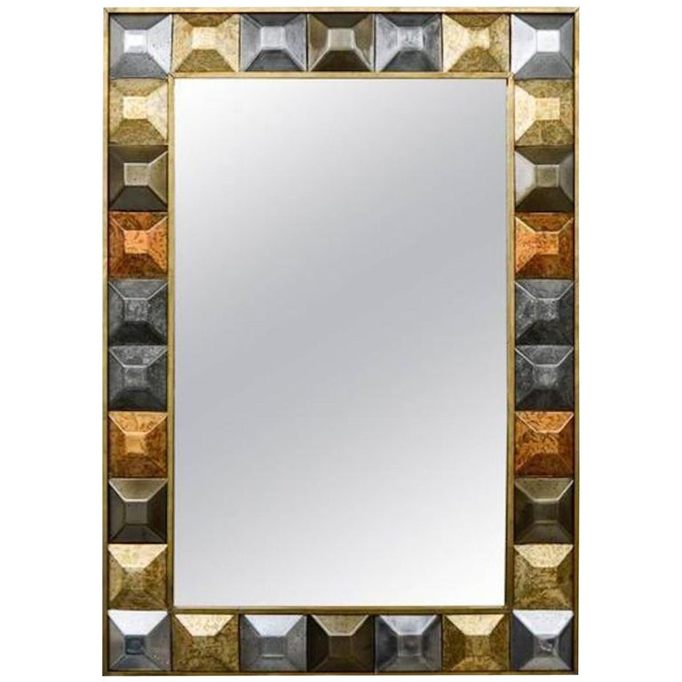 "Mirror ""Diamond Tips"", Gilt Patina"