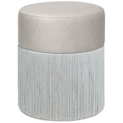 Pouf Pill Grey Silver in Velvet Upholstery with Fringes