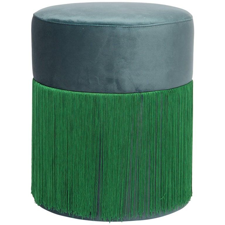 Pouf Pill Emerald Green in Velvet Upholstery with Fringes