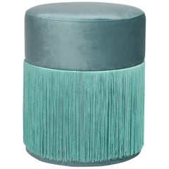 Pouf Pill Turquoise in Velvet Upholstery with Fringes