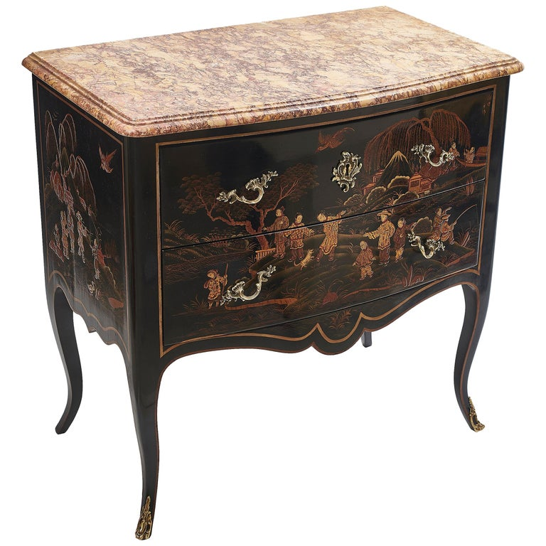 Louis XV Style Black Lacquer Chinoiserie Commode with Marble Top, circa 1930