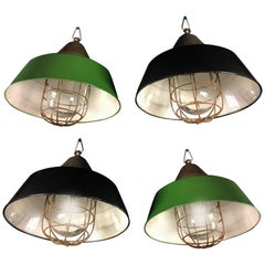 Set of Four Industrial Pendant Lights, Budapest, 1950s
