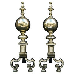 Pair of Brass Firedogs with Ball Finials