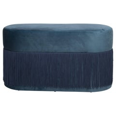 Pouf Pill Large Blue Navy in Velvet Upholstery with Fringes