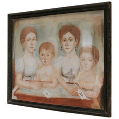 19th Century French Pastel, Four Sisters