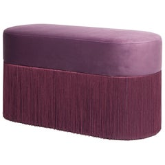 Pouf Pill Large Purple in Velvet Upholstery with Fringes