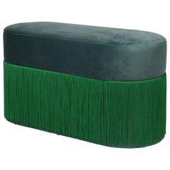 Pouf Pill Large Emerald Green in Velvet Upholstery with Fringes