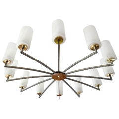 Large Twelve Lights Sputnik Sunburst Glass Brass  Design Chandelier, 1960s