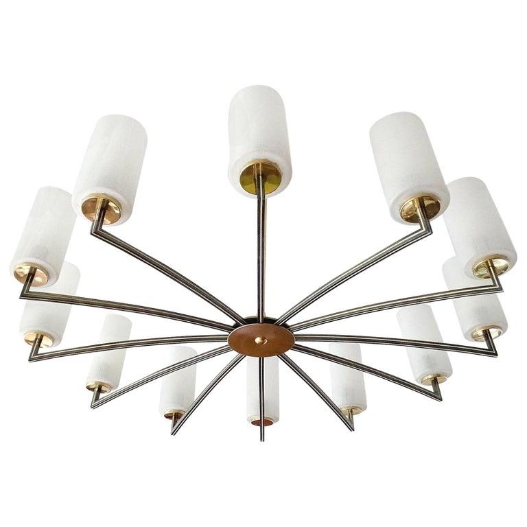 Very Large Midcentury Twelve-Light Sputnik Chandelier Glass Brass Stilnovo Style
