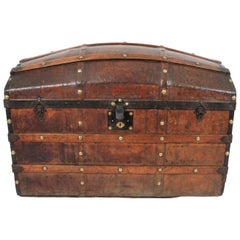 Large 19th Century Portuguese Dome Top Leather Steamer Trunk