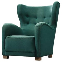 Danish Green Wingback Chair