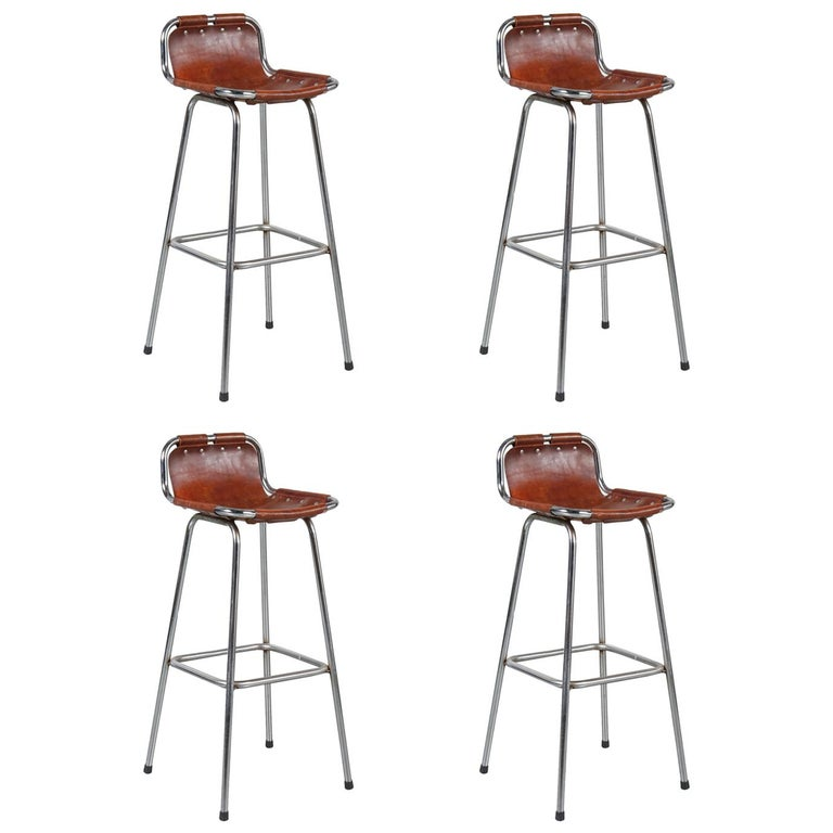 Set of Four Bar Stools Selected by Charlotte Perriand for Les Arcs, circa 1960