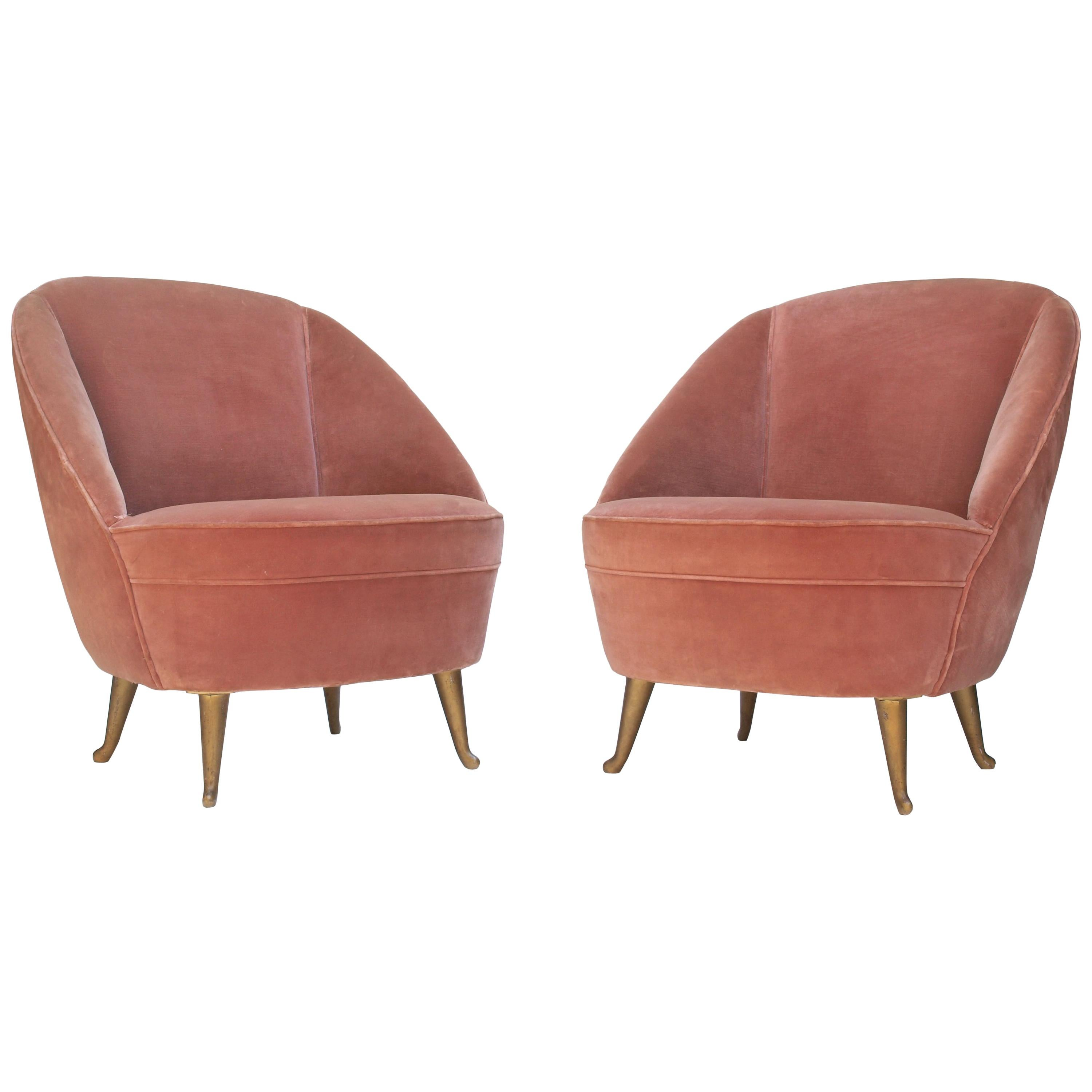 Merveilleux Pair Of Side Chairs For I.S.A Bergamo, 1950s For Sale