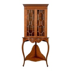 Antique Display Cabinet on Stand, English, Edwardian, Glazed, Mahogany, Corner