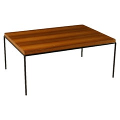 Coffee Table Mahogany Veneer Lacquered Metal Vintage, Italy, 1960s