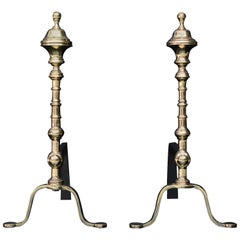 Pair of Elegant Polished Brass Firedogs