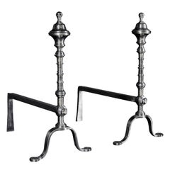Pair of Elegant Polished Steel Firedogs