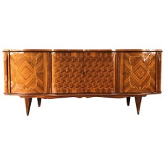Stunning French Art Deco Rosewood Marquetry Sideboard, 1940s