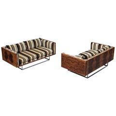 Milo Baughman for Thayer Coggin, Matching Box Sofas in Rosewood