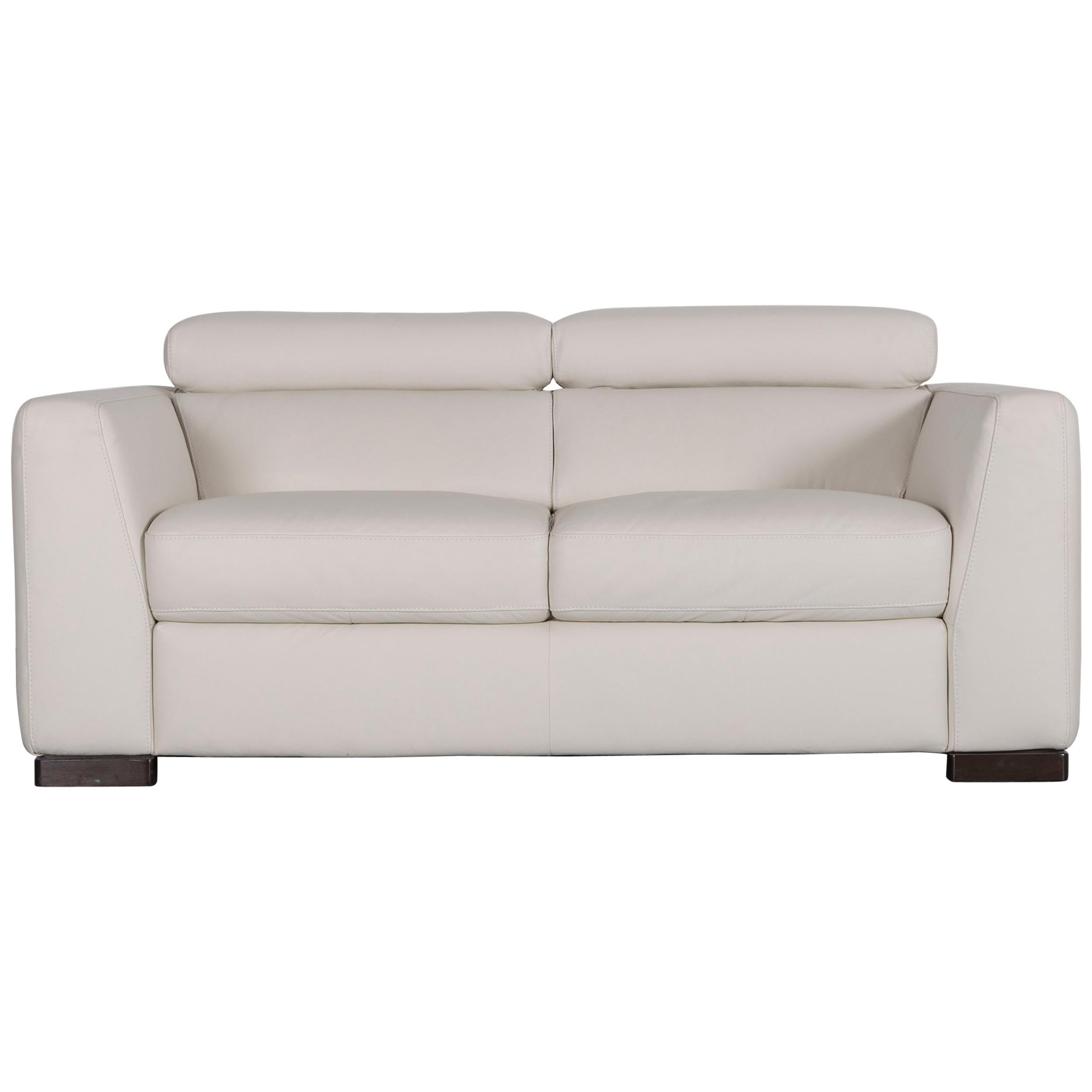 Italsofa Designer Leather Sofa Crème White Modern Two Seat Couch