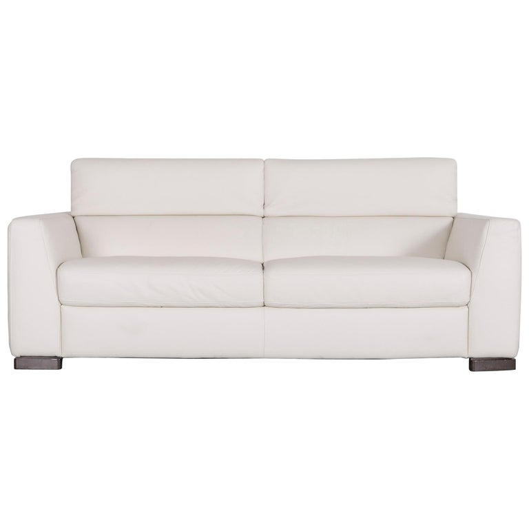 Italsofa Designer Leather Sofa Crème White Modern Three Seat Couch For